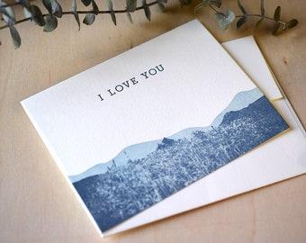 Mountain I Love You Letterpress Notecard