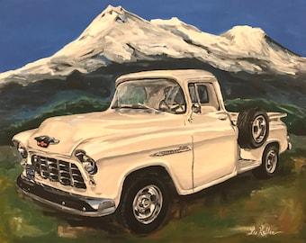 Chevy Truck Art, Classic 1955 Chevy 3200 Truck Art Print, Chevy Truck art, Class car art, classic truck art