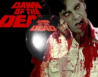 "H008 Dawn of the Dead 1"" Pinback Button Pin Cult Classic Horror Cinema Film Movie Flyboy Night Day George A. Romero"