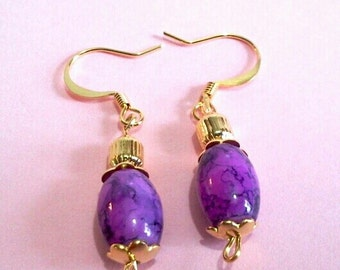 Purple and Gold Dangle Earrings, Bead Jewelry, Colorful Handmade Earrings, Gift for Her