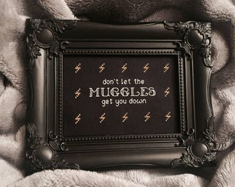 MUGGLES Harry Potter framed cross stitch