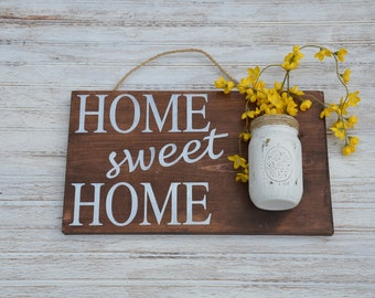 Home Sweet Home| Mason Jar Decor| Wood Sign| Housewarming Gift| Newlywed Gift| New Home| Outdoor Porch Decor| Entryway Decor| Hand painted