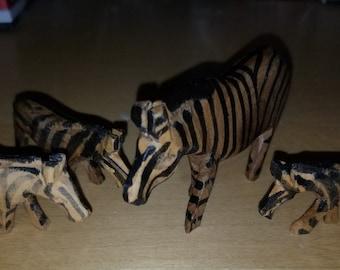 Wooden Hand Carved Zebras