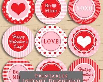 Valentine's Day Printable Cupcake Toppers Party Cute Valentine 2.5 Inch Gift Tags DIY INSTANT DOWNLOAD