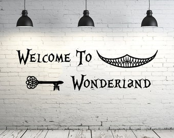 Alice in Wonderland Wall Decal Quote Vinyl Sticker Decals Quotes Welcome To Wonderland Wall Decal Quote Wall Decor Nursery Bedroom ZX19