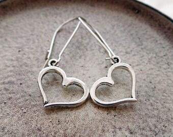 Silver Heart Earrings | Silver Boho Earrings