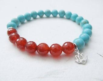 Lotus bracelet, gemstone bracelet, yoga bracelet, turquoise bracelet