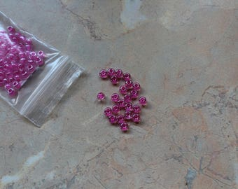 Large fuchsia seed beads dark 4mm
