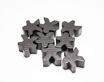 Black Carcassonne Meeples Board Game Small People Pawn Pieces