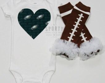 Philadelphia Eagles heart onesie / bodysuit WITH leg (or arm) warmers- NFL baby shower gift - Philadelphia Eagles