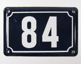 House Number Plate No. 84, Original Enamel French Blue and White, Old French House Number, Enamel House Number (342)