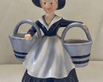 Vintage Lefton China Hand Painted Figurine - Young Girl Carrying 2 Baskets