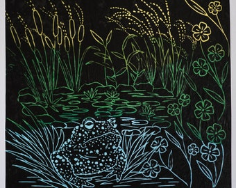 toad and plants lino 1Flowers and wildlife lino prints