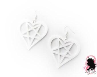 White Acrylic Heartagram Earrings, White Acrylic Heart Pentagram Earrings, Glossy White Acrylic Heartagram Earrings, White Heart Pentagram