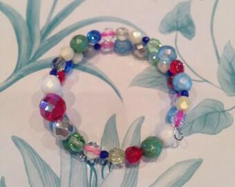 Multi-Coloured Handmade Mixed Bead Bracelet