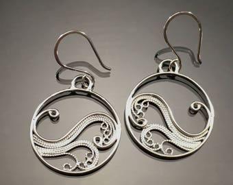 Handmade Silver Filigree, Russian Filigree Earrings, Beach Jewelry, Yin Yang Earrings, Sterling Silver Dangling Earrings, Made to Order