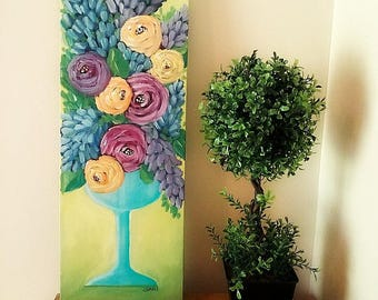 Don't Give Up - Acrylic Painting - Contemporary Fine Art - Floral Still Life - Original Art - by Lana Manis - 8x24