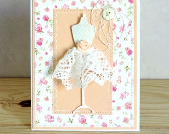 wife birthday card, mothers day, dress lace. Hand made