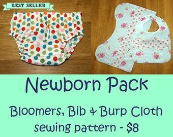 Newborn sewing pattern, Diaper Cover pattern, Bib pattern, Baby sewing pattern - Baby Bloomers pattern + Bib and Burp Cloth pattern