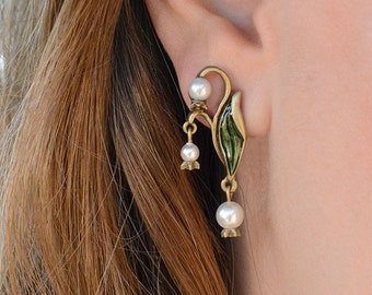 Flower Earrings, Sweet Romance, Lily Earrings, Lily of the Valley Jewelry, Art Nouveau Earrings, Pearl Earrings, Wedding Earrings E586