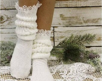 White super thick slouch lace sock, hooter's sock, lace exercise socks, 80's scrunch socks, womens hosiery, workout socks, cotton socks