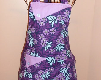 Purple and Blue Flowers - Women's Apron - Ruffle - Pocket - Nature