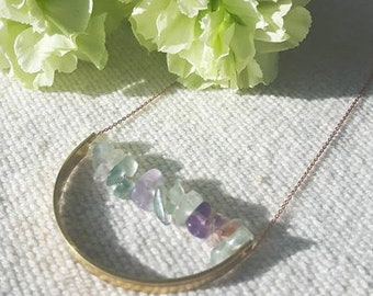Rainbow Fluorite Brass Curve Necklace