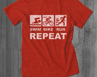 Swim Bike Run Repeat Triathlete T shirt bicycling tops and tees t-shirts| Free Shipping