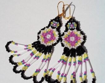 Black and White Easter Garden Beaded Dreamcatcher/Shield Earrings