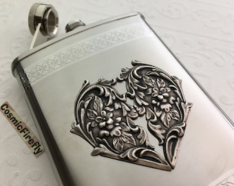 Big Heart Flask Victorian Steampunk Flask Stainless Steel Silver Heart Flask Leo Gift Wedding Flask Holds 8 oz