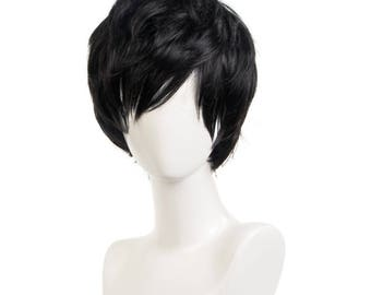 Persona 5 Hero Styled Kurusu Akira Cosplay Anime Black Short Hair Wig Free Cap