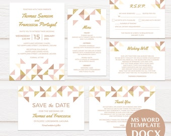 Geometric Gold and Blush Pink Wedding Invitation Template, Printable Wedding Invitations, DIY Invitation, Editable Text, TVW163 DOCX