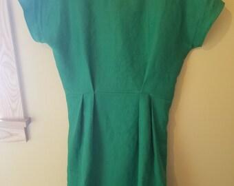 Green dress, green linen dress, linen dress, fit and flare dress, linen, spring dress, summer dress, elastic waist dress, casual dress