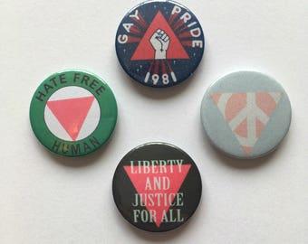 LGBT Gay Lesbian Pride Badges Vintage Style Pink Triangle Retro