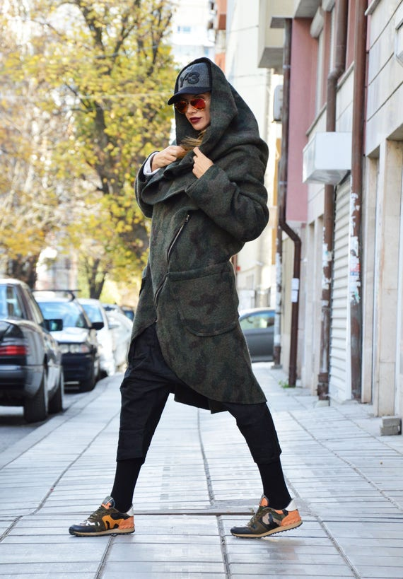 Womens Sleeves Extravagant Coat Coat Zipper Long Cashmere Military Asymmetryc by Coat Warm SSDfashion Winter d8xwXt6