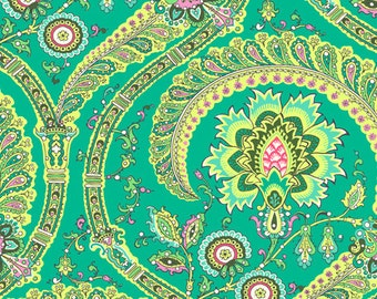 Amy Butler Lark Sateen Collection Feather Paisley Jade Green Modern Cotton Fabric by the yard from Shereesalchemy