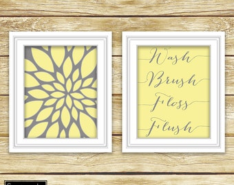 Yellow Grey Floral Flower Burst Wall Art Bathroom Wash Brush Floss Flush Decor Printable Set of 2 8x10 Digital JPG Instant Download (17)