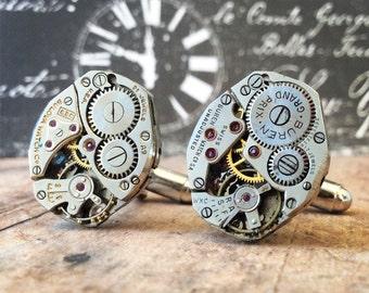 Cufflinks, Steampunk Cufflinks, Watch Part Cufflinks, Silver Cufflinks, Steampunk Jewelry, Watch Movements, Silver Watch, Men's Jewelry