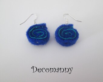 Roll up felt cobalt blue and turquoise earrings