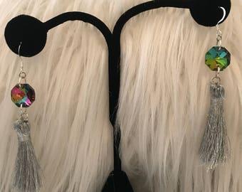 Octagon Chandelier Crystal & Tassel Earrings