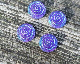 12mm Purple Floral Ab Resin Cabochons