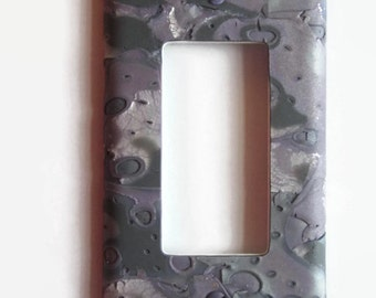 """Light Switch Cover, Rocker Switch Plate, Single Switchplate, """"Moonscape"""" in Lavender, Gray, Silver"""