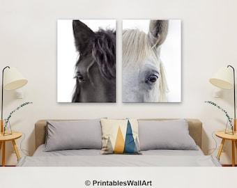 Horse Print, Horse Wall Art Printable, Horse Photography, Horse Large Wall Art Print, Horse Eye Photo Set of 2 , Farm Animal (W0902)
