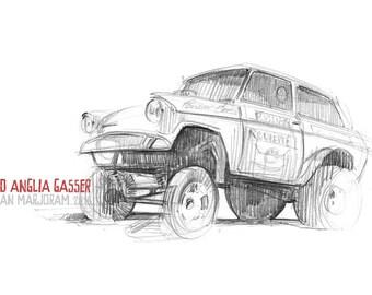 Ford Anglia Dragster - Original A4 Pencil Sketch