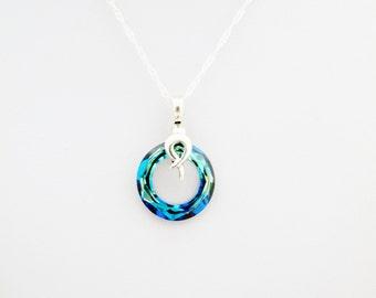Sparkling Cobalt Blue Pendant, Round Blue Swarovski Crystal on Sterling Silver, multifacetted Sparkling crystal pendant, round crystal