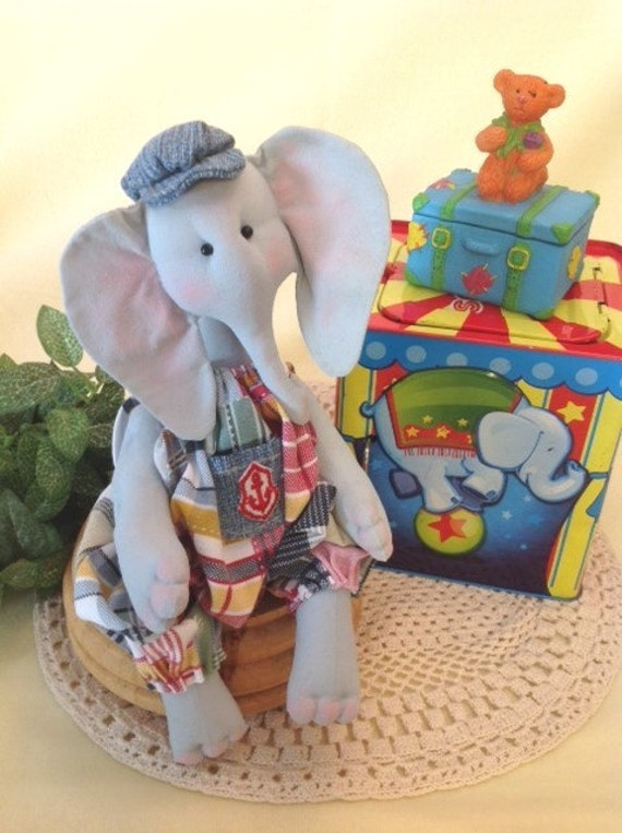 Baby Elephant - Mailed Cloth Doll Pattern Baby Boy Elephant Sewing Pattern
