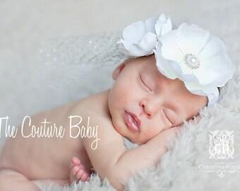 White  Elegant Flower Rhinestone  and Pearl Vintage Silver  Netting Headband Preemie Newborn Infant Toddler Christening Baptism Headband