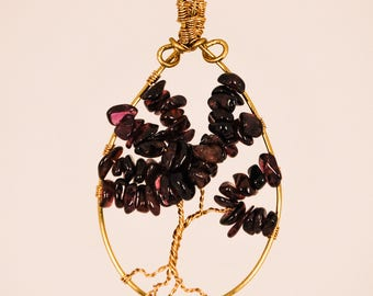 Garnet Tree of Life Pendant
