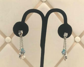 hand made imitation rhodium drop earring with fresh water pearls