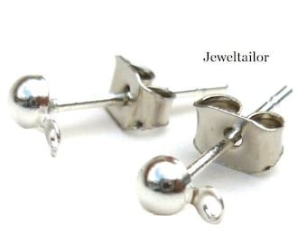 20 Silver Plated Nickel Free Earring Stud Findings 12mm + 20 Free Earbacks~ Smart Value Collection